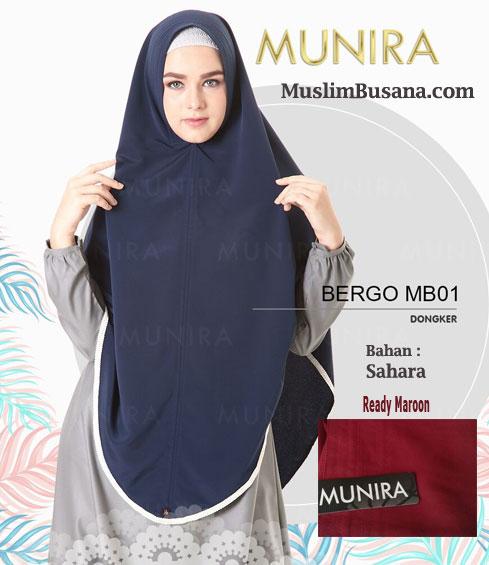 Munira Bergo MB 01 Dongker - Munira Jilbab Dewasa