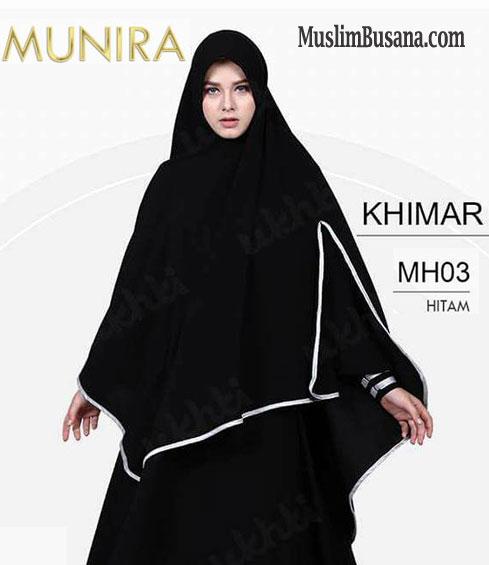 Munira Khimar MH 03 Hitam - Munira Jilbab Dewasa