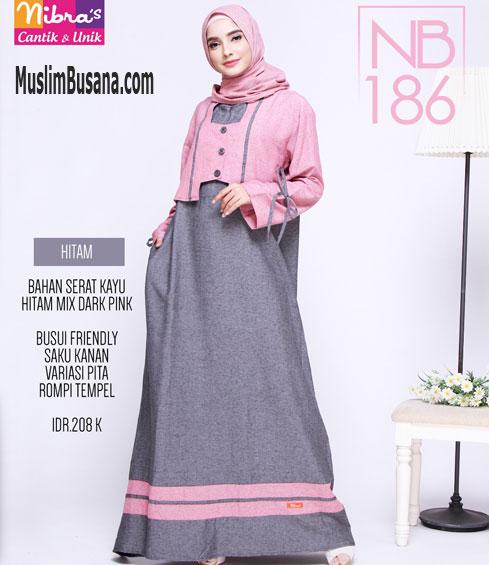 Nibras NB 186 Hitam - Nibras Gamis Gamis Dewasa
