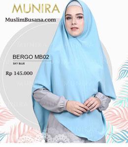 Munira Bergo MB 02 Sky Blue Jilbab Segi Empat