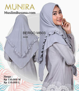 Munira Bergo MB 03 Silver Jilbab Segi Empat