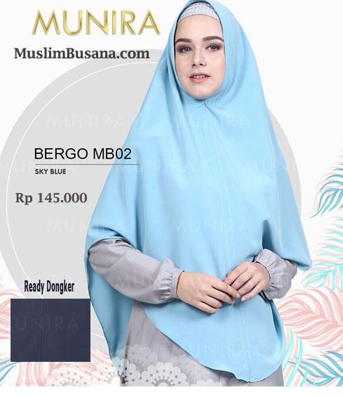 Munira Bergo MB 02 Sky Blue - Munira Jilbab Dewasa