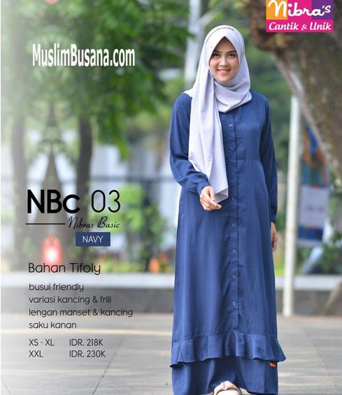 Nibras NBC 03 Navy - Nibras Gamis Gamis Dewasa