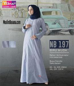 Nibras NB 197 Biru Muda Gamis Dewasa