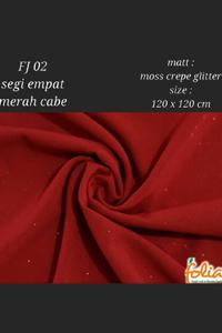 Folia Kerudung Glitter Segiempat Merah Gamis Dewasa